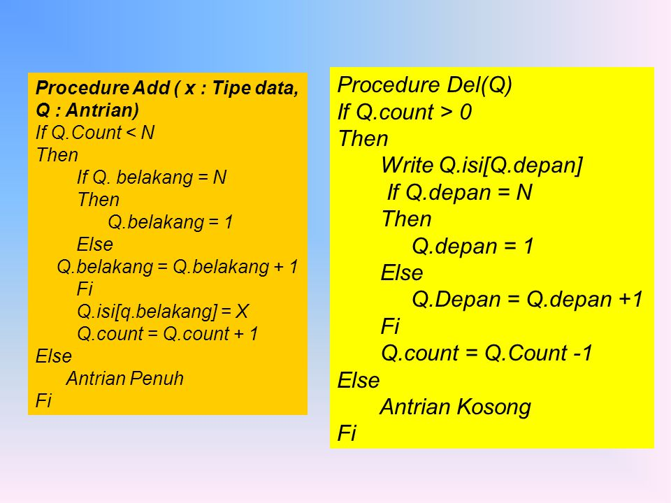 Procedure Del(Q) If Q.count > 0 Then Write Q.isi[Q.depan]